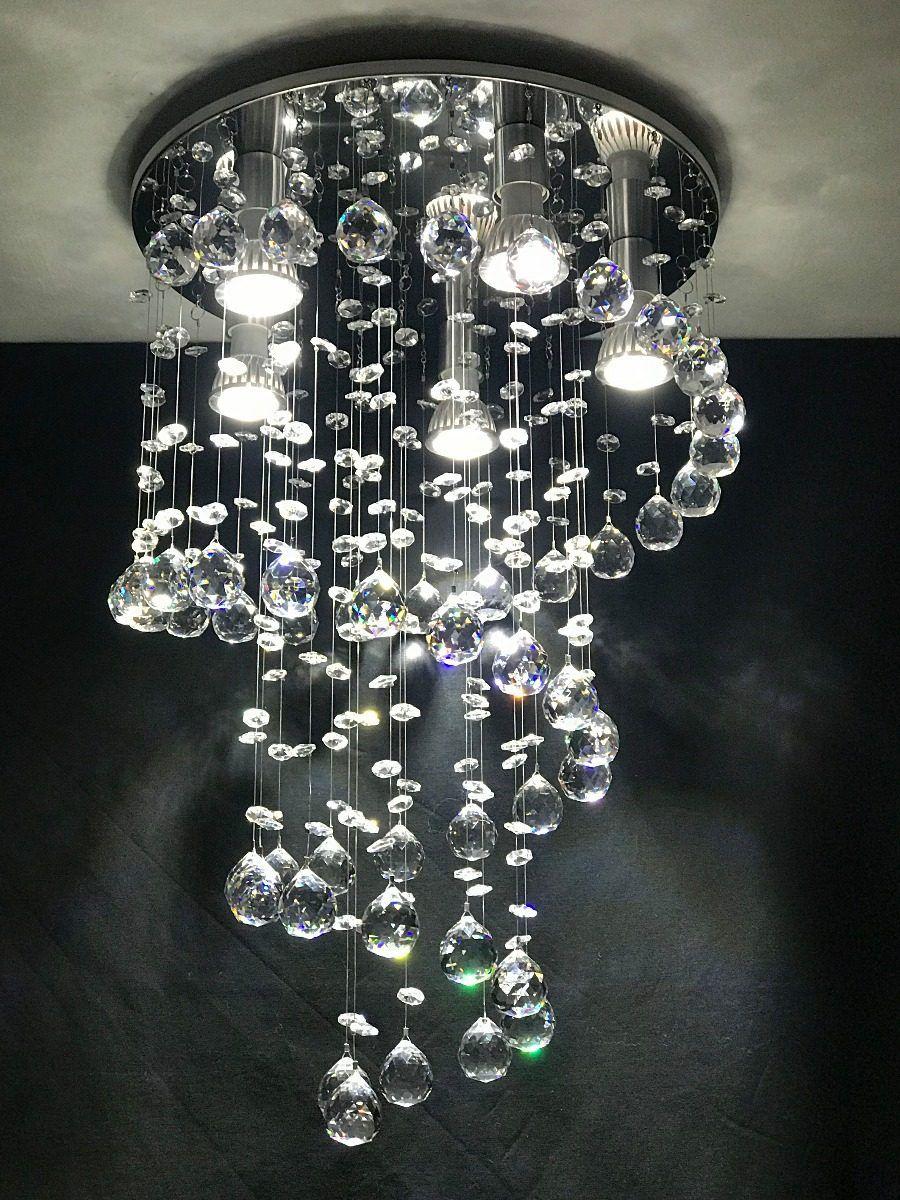Lustre Espiral de Cristal Legítimo - Base Fina 35 cm
