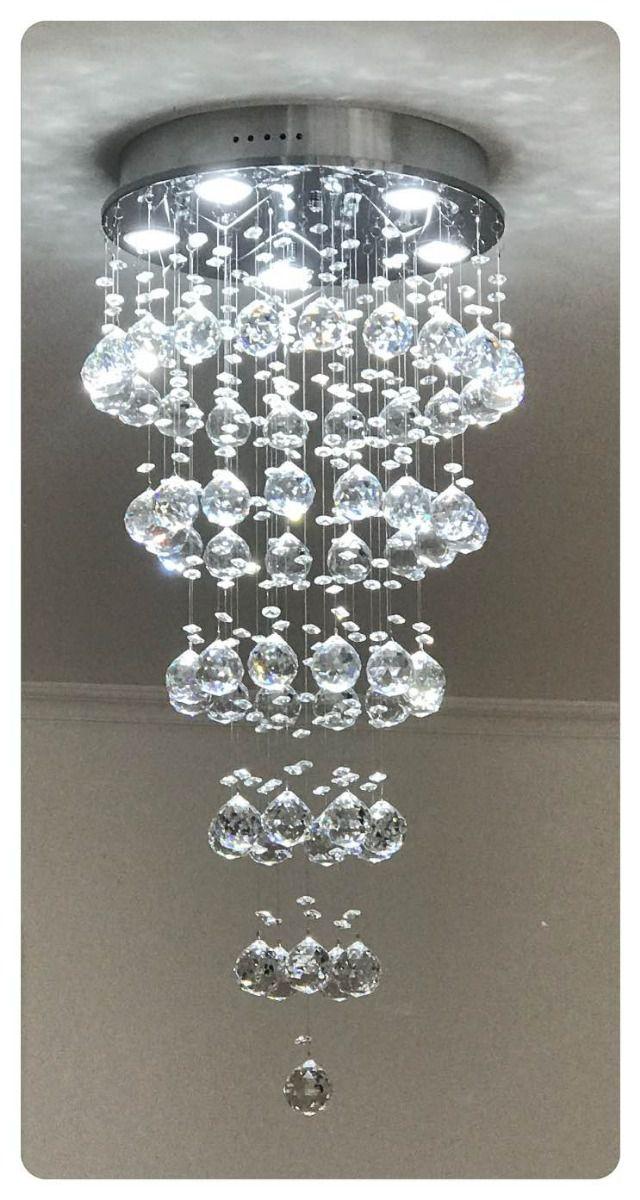 Lustre Plafon Redondo de Cristal Legítimo - Esferas De 40mm - Base 35cm - Debby Artes