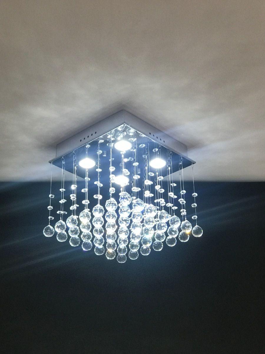 Lustre Plafon de Cristal Legítimo - Base 30x30 cm - Reto - Debby Artes