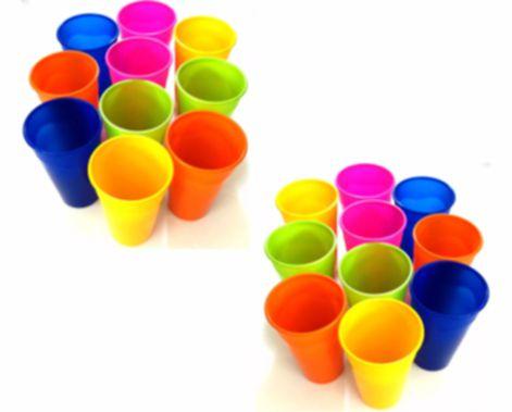 4c3e339fde Copos De Plásticos Grandes Coloridos Para Festa Lavável De 300ml Kit Com 40  Peças