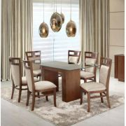 Conjunto de Mesa de Jantar 6 Cadeiras Estofadas Tampo de Vidro Helena - Meira