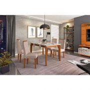 Conjunto de Mesa de Jantar Rouge 1,40m e 4 cadeiras Serena Tampo Chanfrado Vidro - DJ Moveis