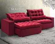 Estofado Madri - 2,32m Retrátil e Reclinável Veludo Vermelho/Bordô