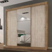 Guarda Roupa Casal com Espelho 3 Portas de Correr Smart - Maxel