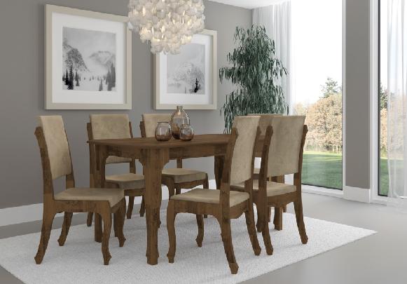 Conjunto de Mesa 6 Cadeiras Onix - RV