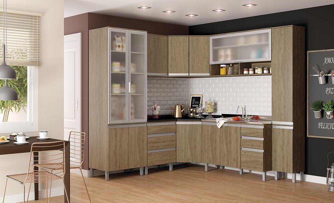 Cozinha Modulada Integra 5 - 8 Peças Portas de Vidro e Nicho - Henn