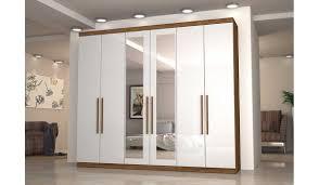Guarda Roupa 6 Portas e 4 Gavetas com Espelho Supreme Mirarack - Canela/Off White