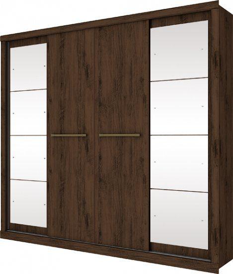 Guarda Roupa Casal Elegance 4 Portas 5 Gavetas com Espelho - Henn