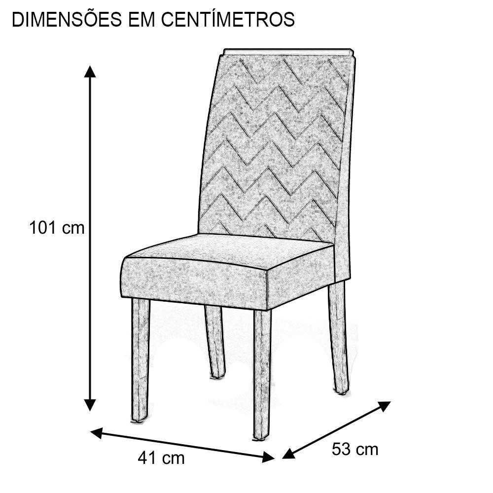 Kit 2 Cadeiras Áurea Estofadas Tecido Linho Bege Claro - DJ Móveis