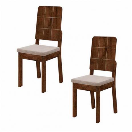 Kit 2 Cadeiras Dama Assento Estofado Tecido Suede Bege  -DJ Móveis