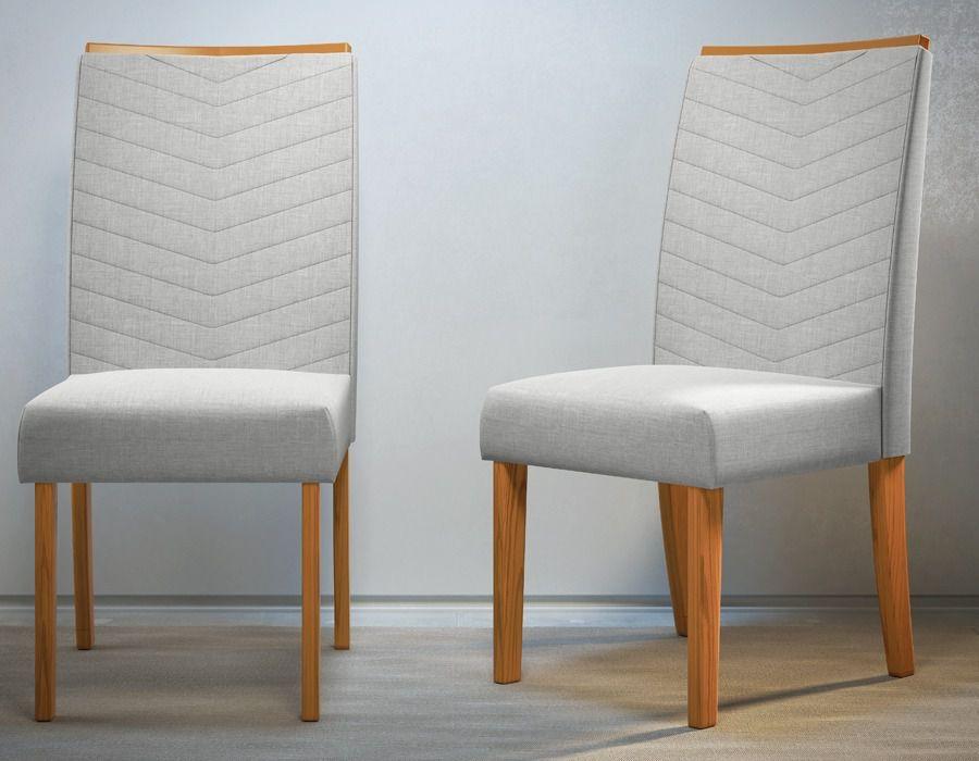 Kit 2 Cadeiras Serena Estofadas Tecido Linho Bege Claro - DJ Móveis