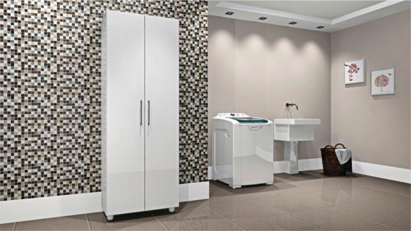 Armario Multiuso para Lavandeira 2 Portas e Suporte para Vassoura - Agne