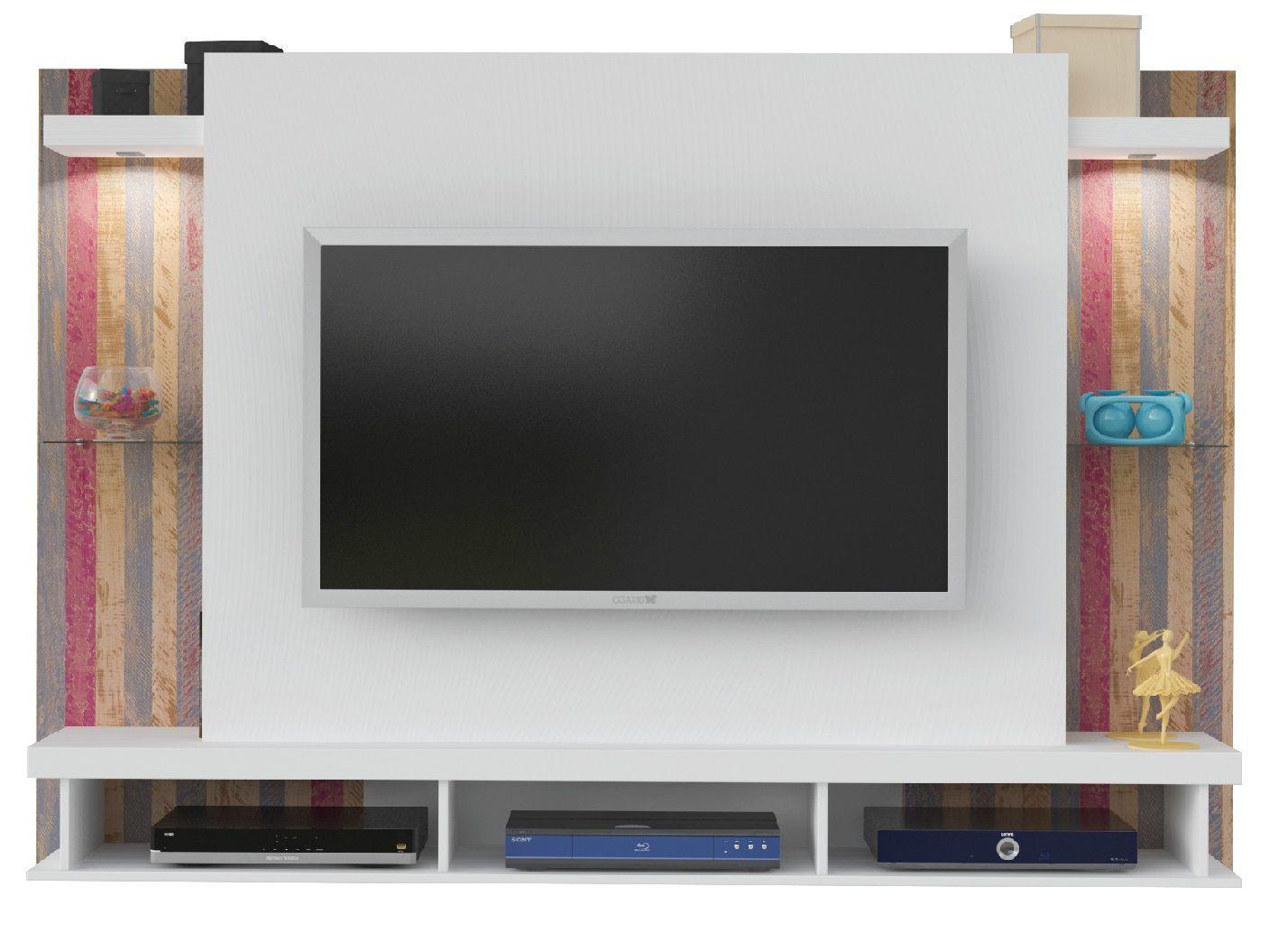 Painel Maximus para TV até 47 Polegadas - Prateleiras de Vidro com Nichos e LED - Artely