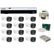 Kit 12 Câmeras de Segurança Intelbras Full HD 1080p VHD 1220B IR + DVR Intelbras Full HD 16 Canal + Acessórios