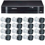 Kit 16 Câmeras de Segurança HD 720p Intelbras VHD 3130 B G4 + DVR Intelbras Multi HD C/HD 1TB+ Acessórios