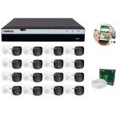 Kit 16 Câmeras de Segurança Intelbras Full HD 1080p VHD 1220B IR + DVR Intelbras Full HD 16 Canal + Acessórios