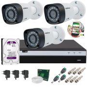 Kit 3 Câmeras de Segurança Intelbras Full HD 1080p VHD 1220B IR + DVR Full HD + HD 1TB + Acessórios