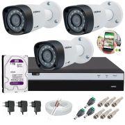 Kit 3 Câmeras de Segurança Intelbras Full HD 1080p VHD 1220B IR + DVR Full HD C/ HD 1TB + Acessórios