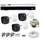 Kit 3 Câmeras de Segurança Intelbras Full HD 1080p VHD 1220B IR + DVR IFull HD 4 Ch + Acessórios