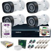 Kit 4 Câmeras de Segurança HD 720p Intelbras VHD 3130 B G4 + DVR Multi HD + HD 1TB + Acessórios