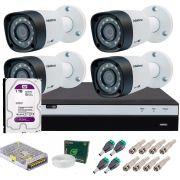 Kit 4 Câmeras de Segurança Intelbras Full HD 1080p VHD 1220B IR + DVR Full HD + HD 1TB + Acessórios