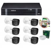 Kit 6 Câmeras de Segurança HD 720p Intelbras VHD 1010B G5 + DVR Intelbras Multi HD + Acessórios