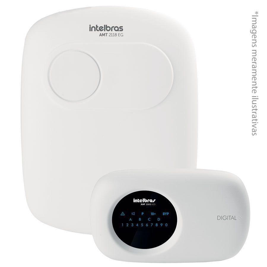 Central de Alarme Intelbras AMT 2118 EG monitorada com 18 zonas (18 com fio + 24 sem fio) Via (linha telefônica/ethernet/GSM-GPRS)