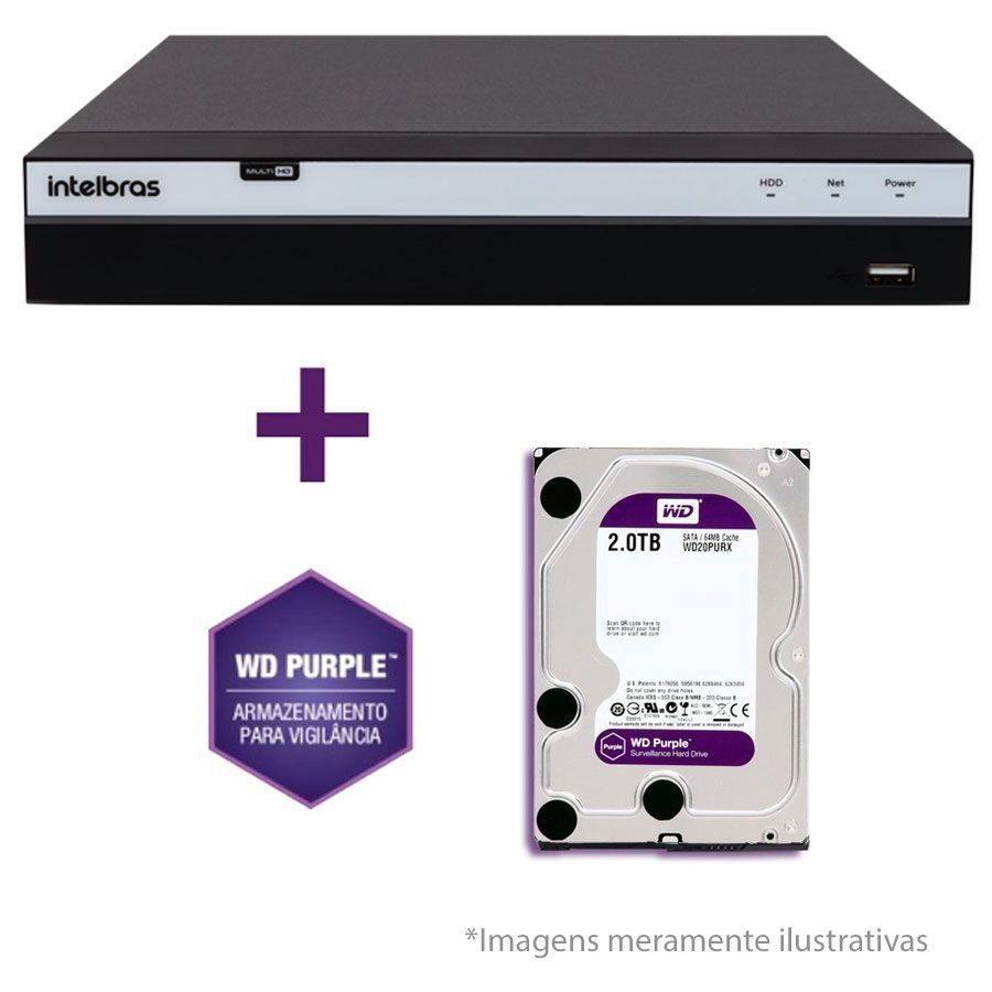 DVR Stand Alone Intelbras MHDX 3108 08 Canais Full HD 1080p Multi HD + 04 Canais IP 5 Mp + HD WD Purple 1TB