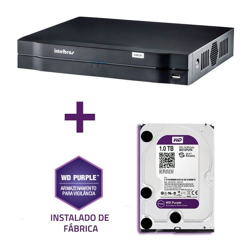 DVR Stand Alone Multi HD Intelbras MHDX-1016 16 Canais + HD 1TB WD Purple de CFTV.