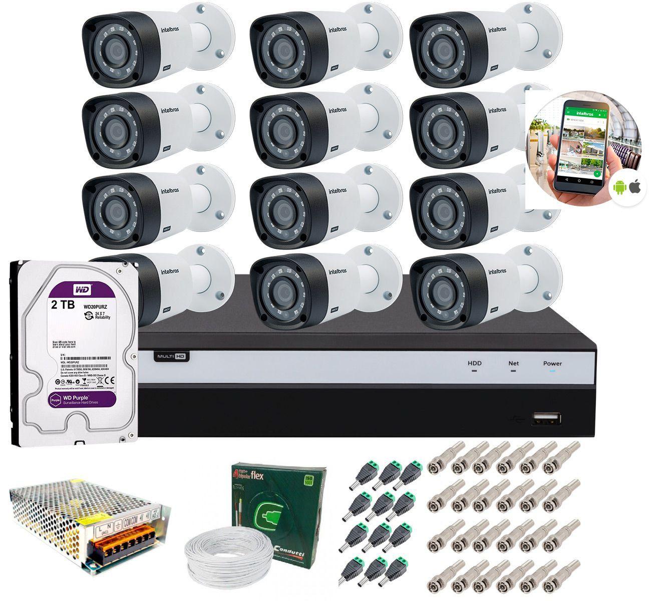 Kit 12 Câmeras de Segurança Intelbras Full HD 1080p VHD 1220B IR + DVR Full HD C/ 2TB + Acessórios