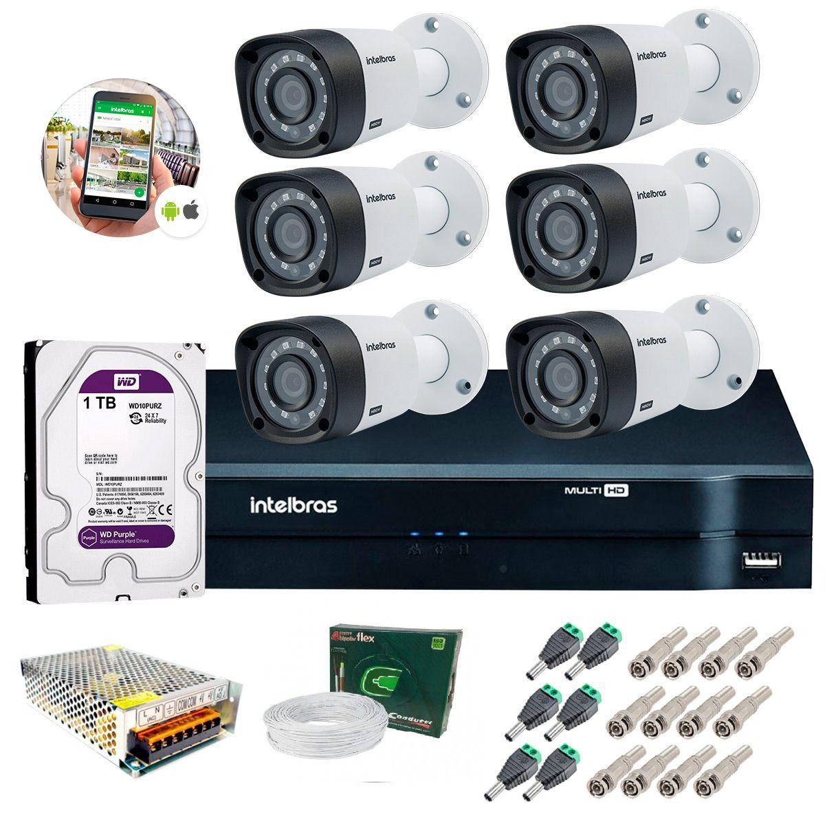 Kit 6 Câmeras de Segurança HD 720p Intelbras VHD 3130 B G4 + DVR Multi HD + HD 1TB + Acessórios