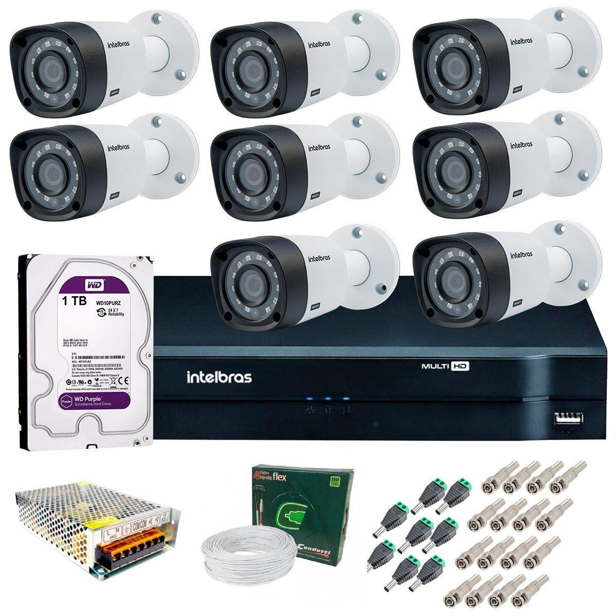 Kit 8 Câmeras de Segurança HD 720p Intelbras VHD 3130 B G4 + DVR Multi HD + HD 1TB + Acessórios