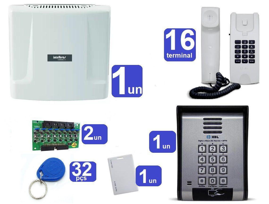 Kit Central de Interfone Condomínio 16 Ramais Comunic 16 + 16 Terminais e Porteiro F-12 SCA HDL