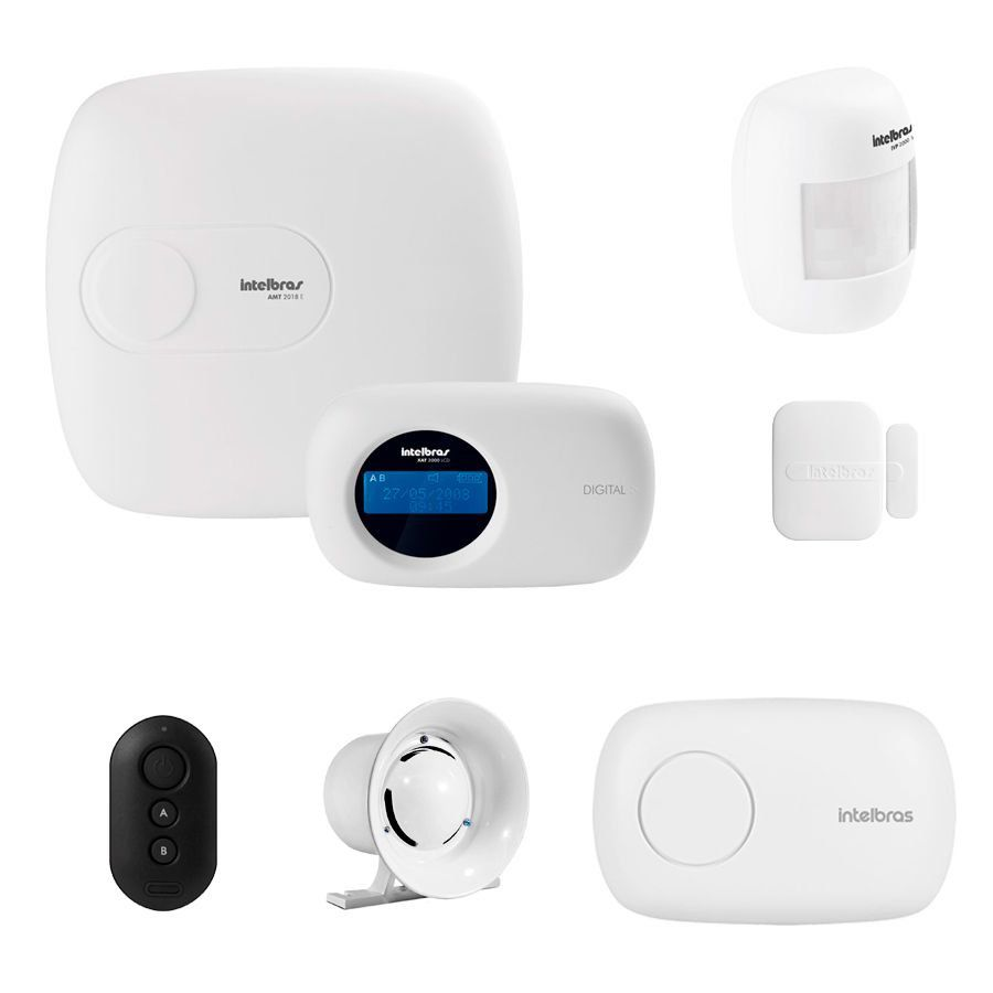 Kit de Alarme Intelbras AMT 2018 E com 02 Sensores e aplicativo via Internet Sem Fio