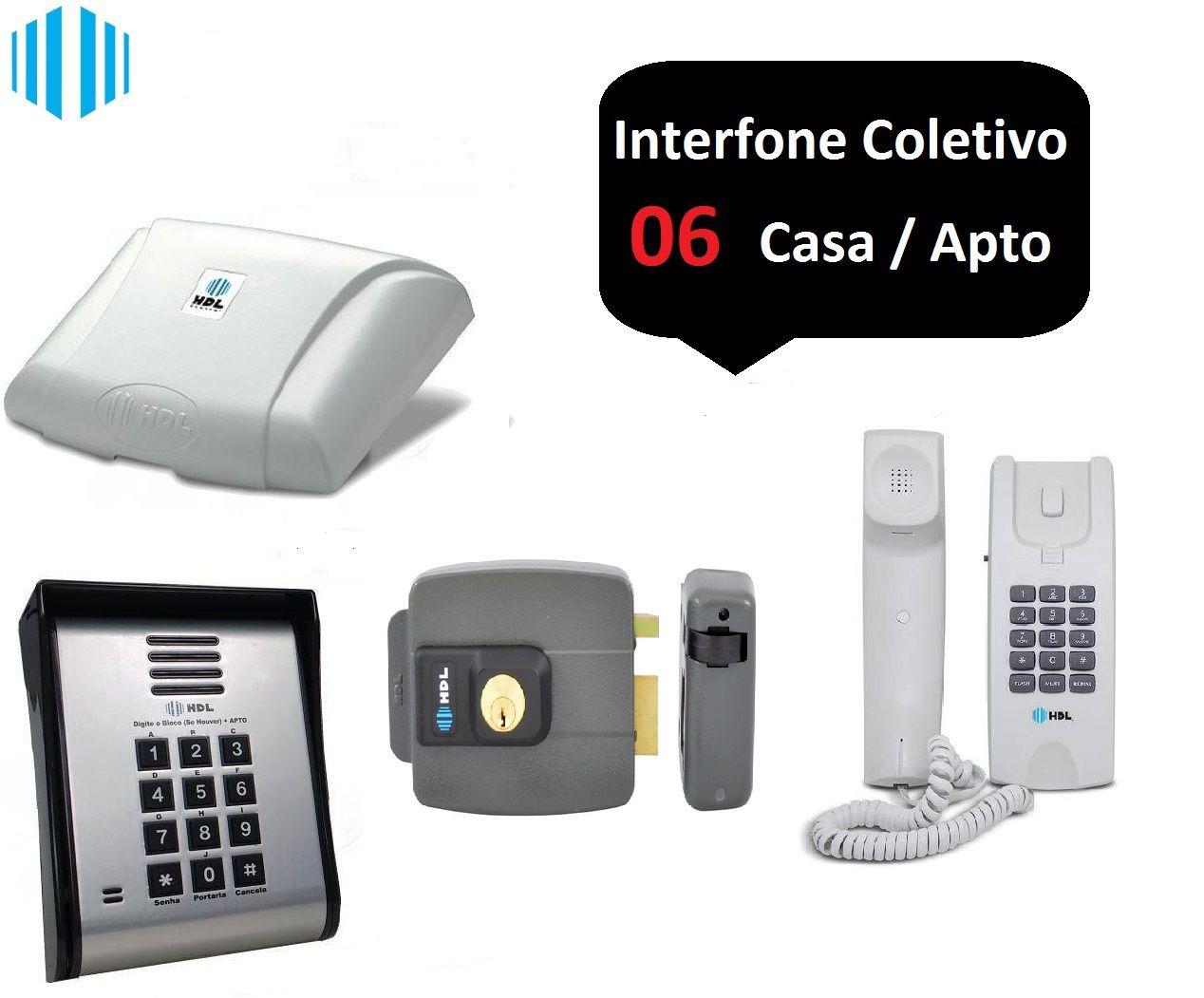 Kit interfonia completo HDL C/6 terminal, porteiro eletrônico e fechadura