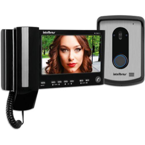 """Kit Vídeo Porteiro Interfone Intelbras IV 7010 HS Preto, Visualiza até 04 Câmeras, Atende por Celular, abre 2 portões, Tela LCD 7"""""""