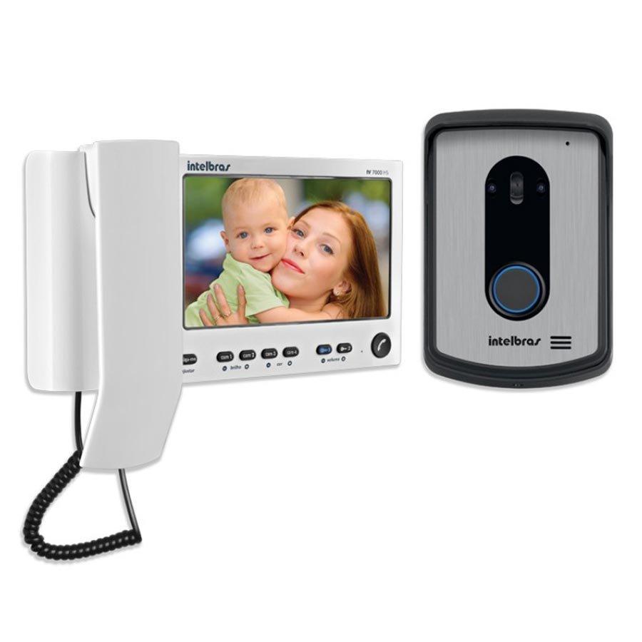 """Kit Vídeo Porteiro Interfone Intelbras IV 7010 HS, Visualiza até 04 Cameras, Atende por Celular, abre 2 portões, Tela LCD 7"""""""