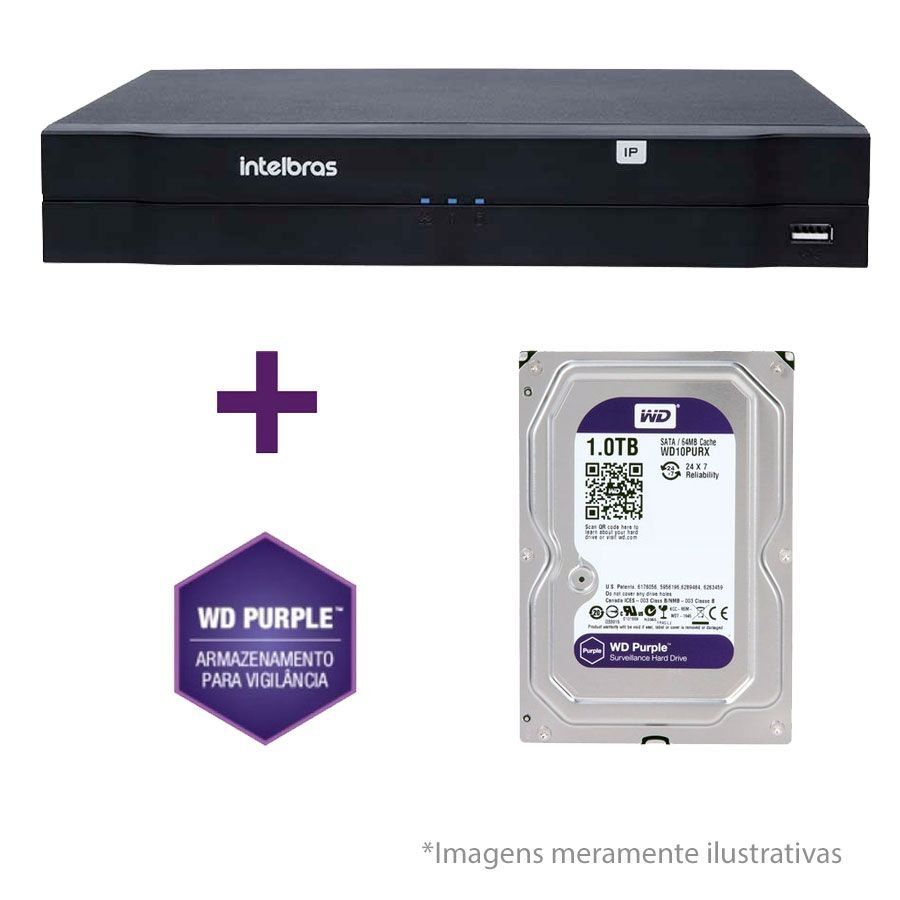 NVR, HVR Stand Alone Intelbras NVD 1108 8 Canais, para Camera IP, OnVif + HD WD Purple 1TB