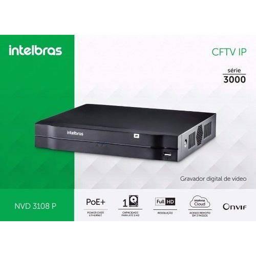 NVR, HVR Stand Alone Intelbras NVD 3108 P 08 Canais, para Camera IP, OnVif