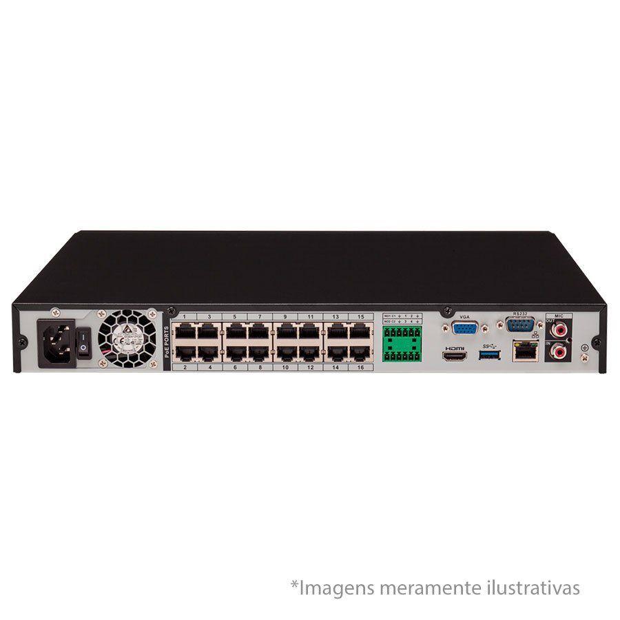 NVR, HVR Stand Alone Intelbras NVD 3116-P 16 Canais, com 16 portas PoE, para Câmera IP, OnVif