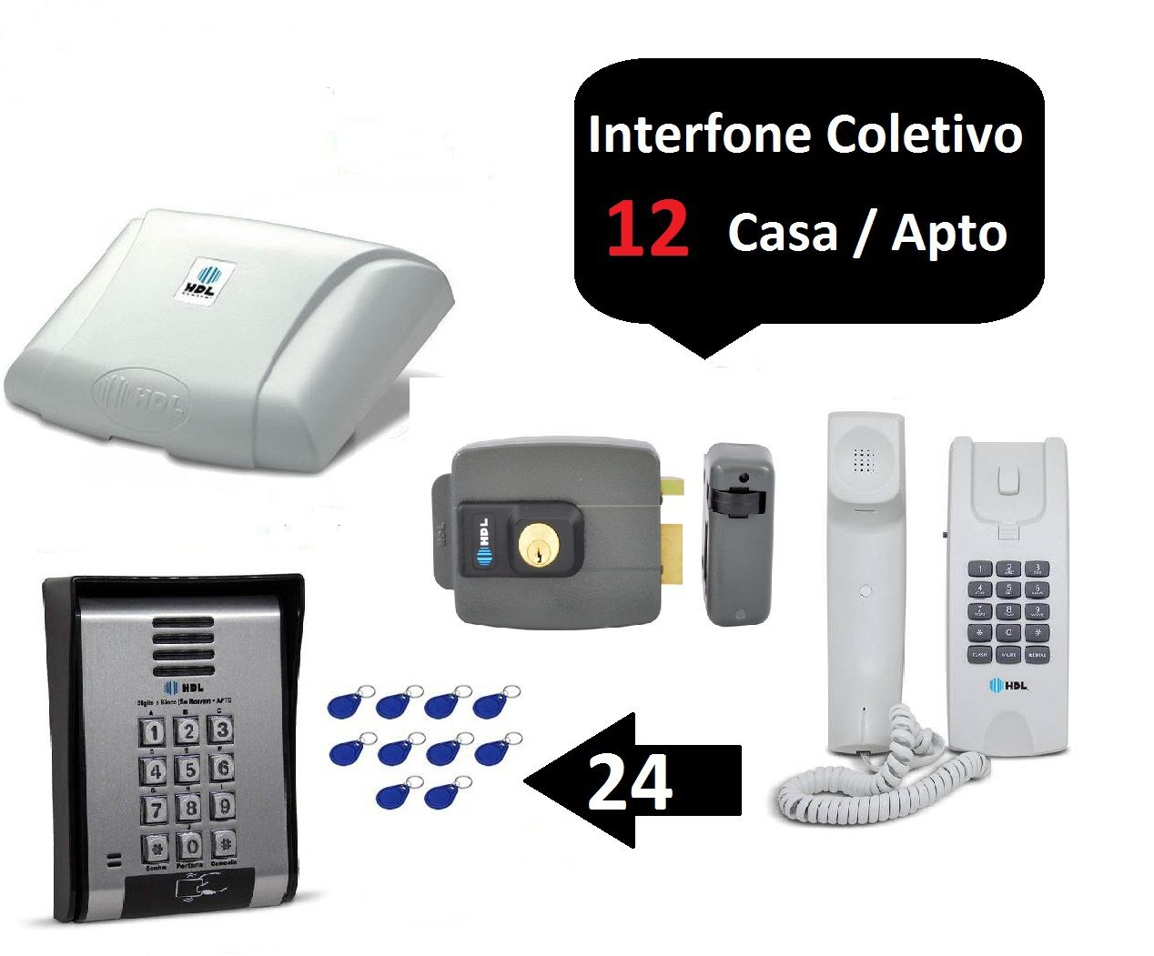 Porteiro Coletivo 12 Ponto C/ Fechadura Controle De Acesso Hdl +24 TAGS