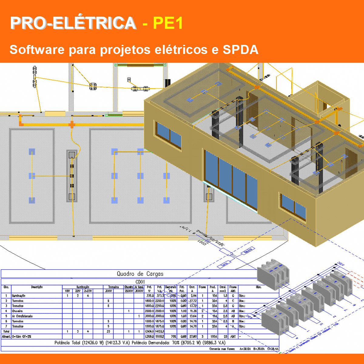 Software PRO-Elétrica versão 18 Pacote PE1 incluindo Detalhamento, Dimensionamento, Cabeamento Estruturado, SPDA, Automação Residencial, Loteamentos e Instalação Fotovoltaica