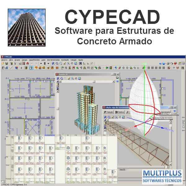 Curso Presencial sobre Cálculo e detalhamento de estruturas de concreto utilizando o software CYPECAD, com duração de 16 hrs, nos dias 19/02 e 20/02/2020 na Praça da República 386 6º andar São Paulo
