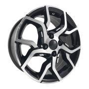 """Jogo 4 rodas BRW 1300 Fiat Argo aro 15"""" furação 4x99 acabamento preto e diamante tala 6"""