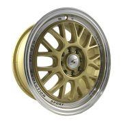 """Jogo 4 rodas GTR BBS aro 15"""" furação 4x100/4x108 tala 6 acabamento dourada c/ borda diamantada ET 32"""