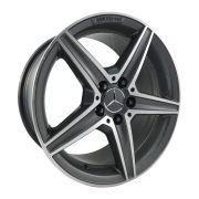 """Jogo 4 rodas Raw Mercedes C-250 aro 17"""" furação 5X112 acabamento grafite e diamante tala 8 ET 40"""