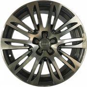 """Jogo 4 rodas Replica Audi A8 2012 aro 19"""" furação 5x100 acabamento grafite e diamante tala 8"""