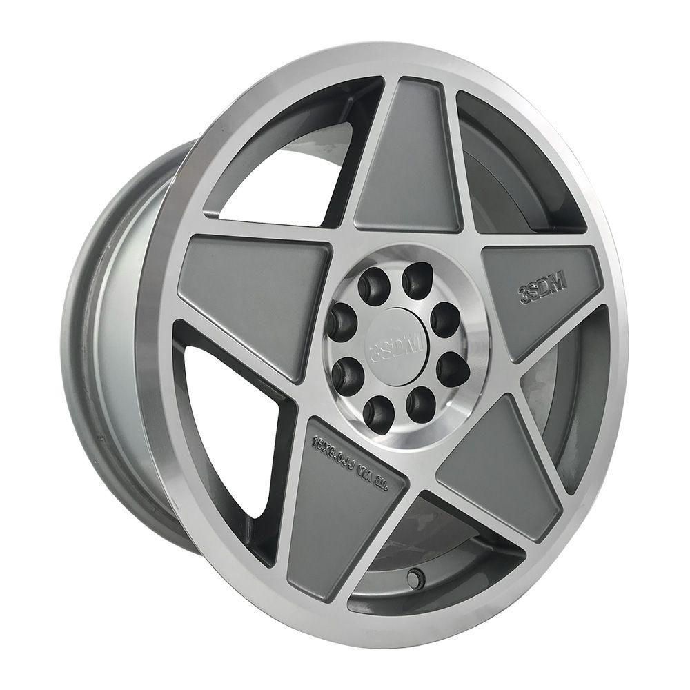 """Jogo 4 rodas Cosmos 3SDM aro 15"""" furação 4x100/4x108 acabamento grafite e diamante tala 8 ET 20"""