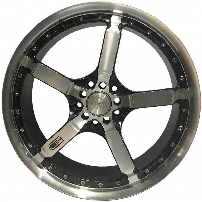 """Jogo 4 rodas HD Wheels  Cooldown aro 19"""" furação 5X100/5X112 acabamento preto e diamante tala 8"""