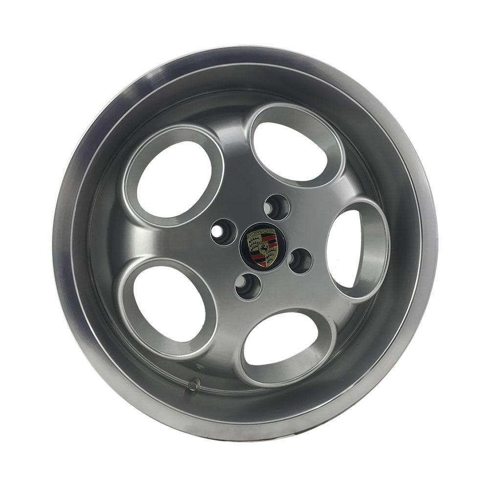 """Jogo 4 rodas KR M-6 Phone Dial Porsche aro 17"""" furação 4X100 acabamento hiper prata com borda diamantada tala 7 ET 48"""